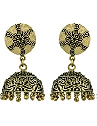Spargz Paisley German Silver Antique Gold Plated Artificial Jewellery Jhumki Earrings For Women And Girls AIER...