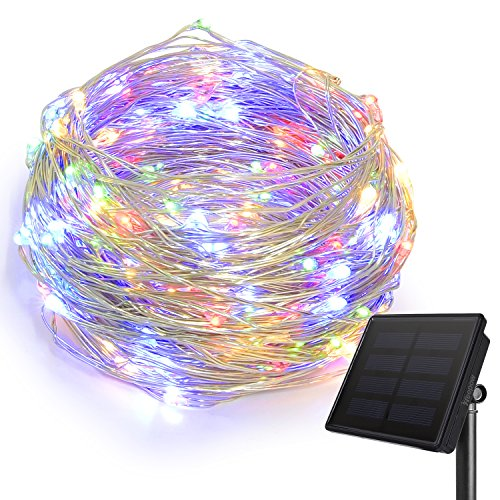 HEEPOW Verbesserte LED Lichterkette (3-Strang Kupferdraht, 200 LED, 72 ft/ 22M), Solar Lichterkette mit 8 Modi, wasserdicht Solar LED Lichterkette (Farbig)