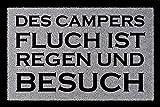 FUSSMATTE Schmutzmatte DES CAMPERS FLUCH Lustig Camping Wohnwagen Viele Farben Hellgrau