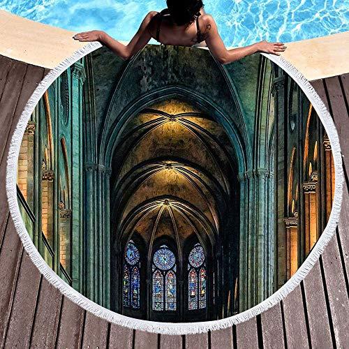 Notre Dame de Paris Stranddecke Strandtuch Picknickdecke Campingdecke Yoga Mat Wand Hängend Tapisserie Sonnenschutz Schal Schalldämpfer für Outdoor Sandstrand und Innendekoration (P)