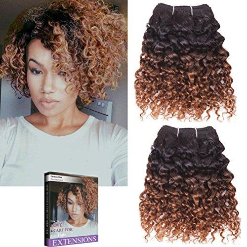 Emmet Kurze lockige Haarverlängerung 8Inch Einfache Installation u. Nähen Ombre Farben Brasilianisches Menschenhaar kann gefärbt werden und befreit Afro Kinky Weave 2Bundles / Los 50g / Bundle(1B#/30#)