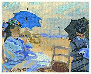 "DMC ""The National Gallery - Claude Monet - The Beach at Trouville"" Cross Stitch Kit, Multi-Colour"