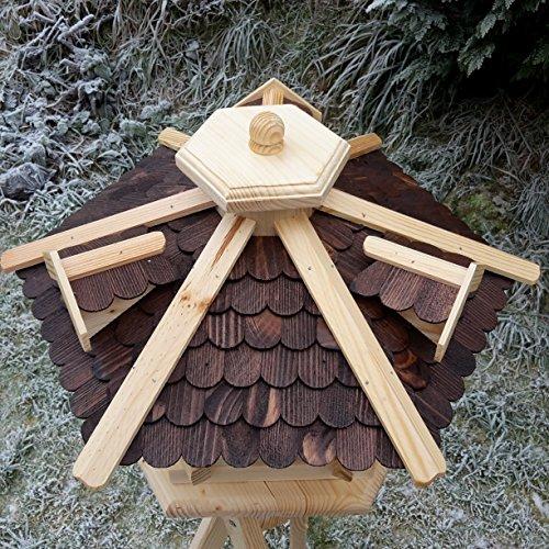 Qualitäts Vogelhaus mit Holzschindeln 6 Eck lasiert Vogelhäuser-Vogelfutterhaus großes Vogelhäuschen-aus Holz Wetterschutz (Dunkelbraun) - 2