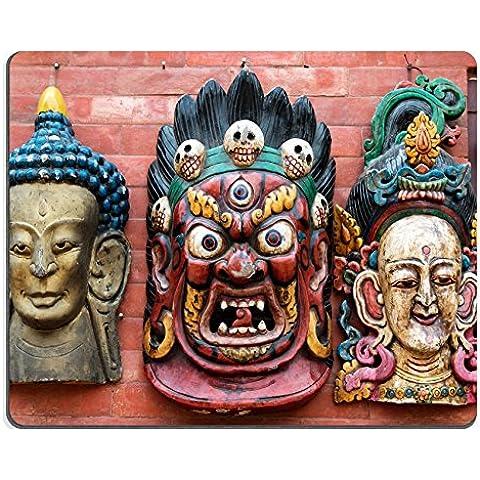 MSD-Tappetino per mouse in gomma naturale, gioco foto ID: 29868306 3 maschere, Hindu, gioielleria tradizionale da parete, colore: rosso mattone Kathmandu souvenir mercato