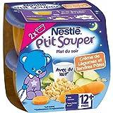 Nestlé Bébé P'tit Souper Crème de Légumes Tendre Pâtes - Plat Légumes et Féculents dès 12 Mois - 2 x 200g - Lot de 4