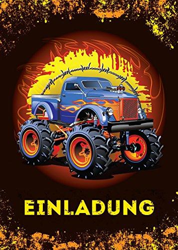 12 Einladungskarten Kindergeburtstag Jungen Monstertruck Jungs Geburtstagseinladungen Einladungen Kartenset Monster-Truck Geburtstag Karten Auto (Monster-truck-aufkleber Für Autos)