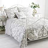 Paoletti Canterbury Tales Toile De Jouy Pure Cotton Quilted Bedspread, White/Grey, Double