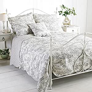 paoletti canterbury tales couvre lit matelass gris avec motif toile de jouy taille king size. Black Bedroom Furniture Sets. Home Design Ideas
