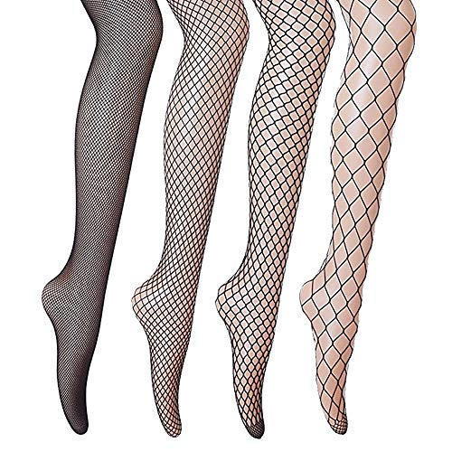 oo 4 Stück 4 Stile Sexy Fischernetz Strumpfhosen für Damen Kostüm Fasching - Schwarz ()