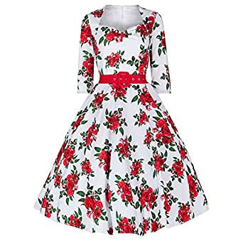Pretty Kitty Weiß -Rot Rose geblümten Kleid