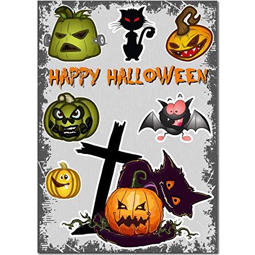 Aufkleber - Halloween-Set 04 - 70 cm x 50 cm - Sticker - Wandtattoo - Fenster - Laptop