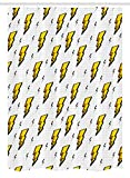 Vintage Décrochage Rideau de douche par Ambesonne rétro, Flash Electric icônes avec des lignes à carreaux Funky Batman Boom Pop Art Comic, tissu de salle de bain Décor avec ensemble de crochets, Blanc Jaune, Tissu, Multicolore 1, 54' W By 78' L