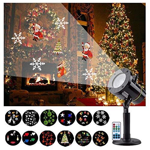 LED Projektionslampe, 12 Wechselbaren Musters für eine Zauberhafte Fantasie, LED Projektor Mit wasserdicht IP65 für Innen und Außen als Gartenleuchte Projektor