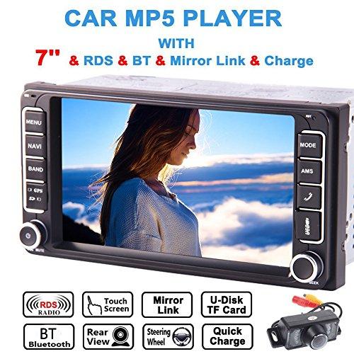 R¨¹ckfahrkamera inklusive! Doppel-DIN-Autoradio MP5 Fit f¨¹r Toyota- 7 Zoll kapazitiven Touch Screen GPS-Autoradio mit Bluetooth FM AM-Radioempf?nger Telefon-Mirroring Lenkrad-Steuerung + Free Karte Card! (Toyota Sat-radio)