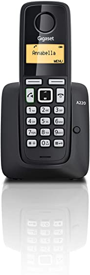 Gigaset A220 Cordless Phone with 18 Hrs Talk Time,200 Hrs Standby,50M Indoor & 300M Outdoor Range,Speakerphone,80 Contact Storage,Made in Germany for Home&Office, DECT,Hands Free,A220 Black