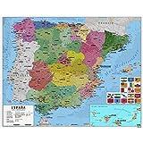 Erik - Mini Carte d'Espagne Politique - Espagnol - Papier Glacé - 40x50cm