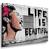 Banksy LIFE IS BEAUTIFUL ; Graffiti Druck auf leinwand FARBIG - Bild 60x40cm !Nr65495689 Bild fertig auf Keilrahmen ! Pop Art Gemälde Kunstdrucke, Wandbilder, Bilder zur Dekoration - Deko / Top 200