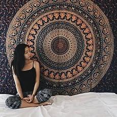 iwonder Cotton Textile Twin Hippie Bohemian Indian Mandala Bedsheet for Single Bed (Multicolour, 2564872, 54 x 84)