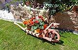XL Offene Holz-Schubkarre, Gartendeko Karre zum Bepflanzen, Blumentöpfe, Pflanzkübel, Pflanzkasten, Blumenkasten, Pflanzhilfe, Pflanzcontainer, Pflanztröge, Pflanzschale, Schubkarren 100 cm HSOF-100-ROT Blumentopf, Holz, amazon rot rötlich lasiert / eingelassen Pflanzgefäß, Pflanztöpfe Pflanzkübel