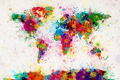 Poster de la carte du monde peint. Michael Tompsett (91,5cm x 61cm) + un poster surprise en cadeau!