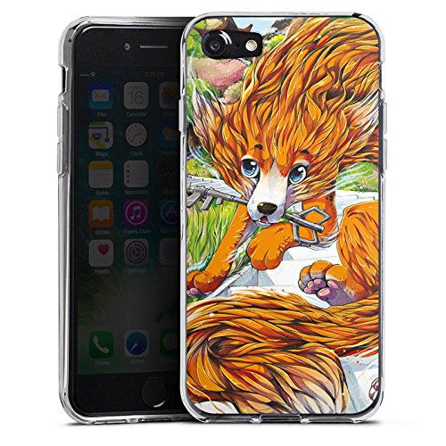 Apple iPhone X Silikon Hülle Case Schutzhülle Fuchs Zeichnung Orange Silikon Case transparent