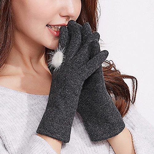 Gestrickte Handschuhe Frau Handschuh Touchscreen Winter warme Studenten im Freien / Fahren / Reithandschuhe 3 Farben sind verfügbar Warme Handschuhe ( Farbe : Grau )