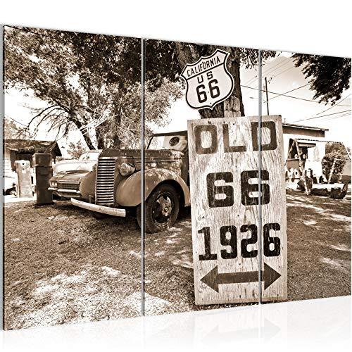 Bilder Vintage Auto Route 66 Wandbild 120 x 80 cm Vlies - Leinwand Bild XXL Format Wandbilder Wohnzimmer Wohnung Deko Kunstdrucke Braun 3 Teilig - MADE IN GERMANY - Fertig zum Aufhängen 609831b