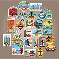 25x Luggage stickers suitcase patches vintage travel labels retro vintage graffiti iphone car stickerbomb style vinyl decals door skateboard cafe