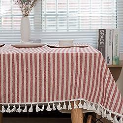 Meiosuns Mantel a Rayas Mantel a Rayas Mantel de algodón Simple Uso Interior y al Aire Libre (Rayas Rojas/Blancas, 100_x_140_cm)