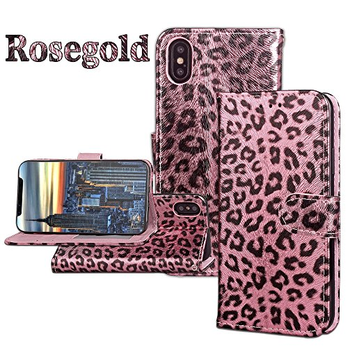 EKINHUI Case Cover Horizontale Flip Stand Case Leopard Texture PU Ledertasche Full Body Pretection TPU Cover mit Kartensteckplätzen und Magnetverschluss für iPhone X ( Color : Rosegold ) Rosegold