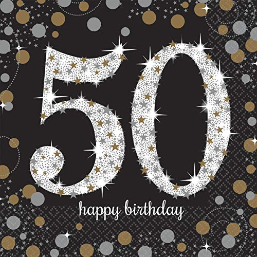 amscan 511546 16 Servietten 50.Geburtstag Sparkling Celebration, - Lustige Duos Kostüm