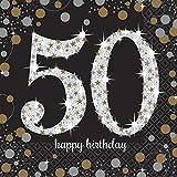 Amscan Glitzernde Happy 50th Birthday Servietten (16 St.)