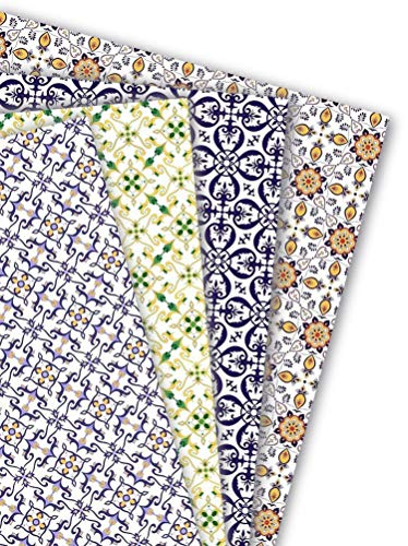 ArtUp.de 8 Bögen Geschenkapier Azulejos Portugal   4 Motive mit je zwei Bögen Einschlagpapier für außergewöhnlich schöne Geschenke   edel fein exklusiv   Bogengröße DIN A2 (ca. 42 x 59 cm)