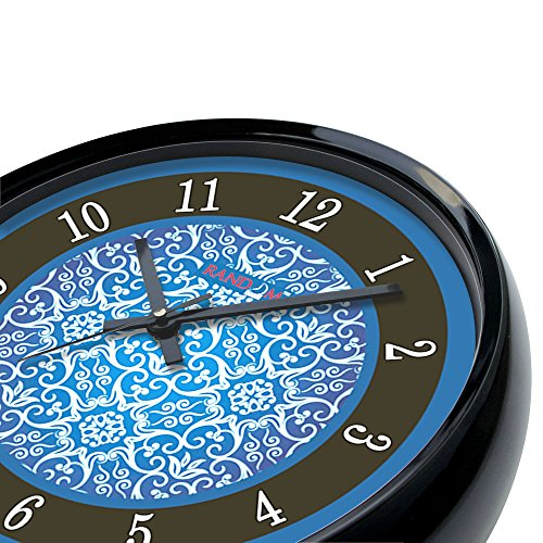 Random Earth Round Plastic Wall Clock (28 cm x 28 cm x 5 cm, Black)