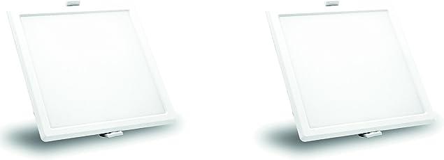 Syska 8 Watts Square LED Slim Recessed Panel Lights - RDL Series (Pack of 2, Warm White)