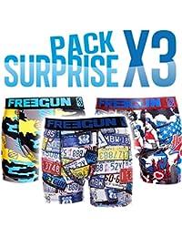 Freegun-Pack surprise de 3 boxers homme en microfibre ou en coton selon arrivage