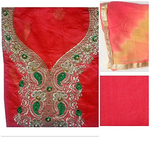 C&S Fashion Women's Orange Embroidered Cotton Salwar Suit with Dupatta (RED)