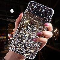 JAWSEU Funda Brillante Compatible con Samsung Galaxy S10e, Transparente Brillo Bling Glitter Diseño Ultra Delgada Slim Suave Cristal Silicona TPU Gel Goma Bumper Antigolpes Protectora Carcasa,Negra
