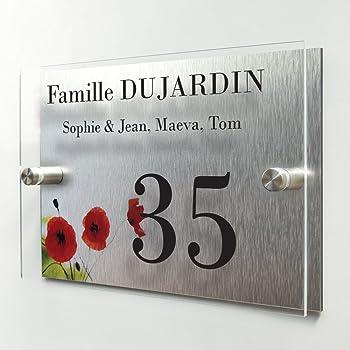 Plaque de maison moderne - Numéro de porte + adresse - Fond Coquelicots -  Personnalisée en ligne - Customisateur - Plexiglas + Aluminium - qualité ... e8fd33c2d5