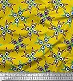 Soimoi Gelb Viskose Chiffon Stoff Fliesen marokkanisch
