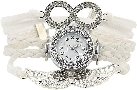 Damen Charme Strass Design Kunstleder Engelsflügel Armreif Armbanduhr Weiß