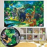 Fototapete Safari Wand-dekoration - Wandbild Dschungel Poster-Motiv by GREAT ART (210 x 140 cm)
