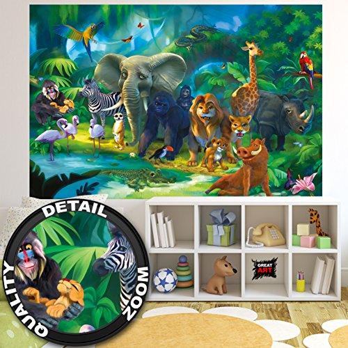 *GREAT ART Fototapete Kinderzimmer Dschungel Tiere Zoo Dekoration – Wanddekoration Jungen Mädchen 210 x 140 cm*