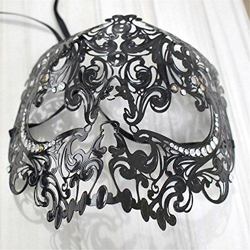 (ParttYMask Maskerade,2018 Gold Metall Diamanten Make-up Abschlussball Maske halb Gesicht für Männer und Frauen Venedig Metall Schmiedeeisen Maske schwarz Masquerade)