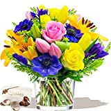 SPRING BREEZE BOUQUET FRESH FLOWERS & CHOCOLATES - Exclusive Spring Flowers Easter & Spring Bouquets by Eden4flowers