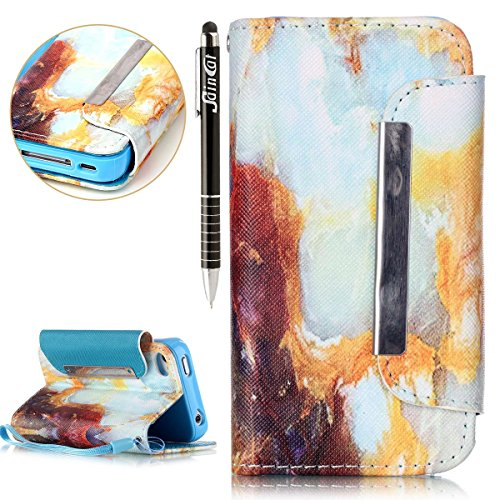 SainCat Coque Etui pour Apple iPhone 4/4s,Anti-scratch Cuir Dragonne Portefeuille PU Cuir Etui pour iPhone 4s,Coque de Protection en Cuir Folio Housse,SainCat PU Leather Case Brillant Glitter Wallet F motif de marbre