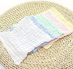 LQZ 5pcs Baby Muslin Washcloths - Natural Muslin Cotton Baby Wipes - Soft Newborn Baby Face Towel