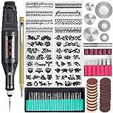 Uolor 108 Pcs Set di strumenti per incisione, Multi-Functional Electric Engraver Penna DIY Rotary Tool per gioielli in metallo Vetro in ceramica di plastica in legno con Scribe, 82 Bit e 24 stencil