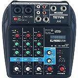 منصة هندسة الصوت المحمولة بلوتوث ذات 4 قنوات لمزج الصوت - جهاز هندسة الصوت بتاثيرات صدى مدمجة للتسجيل والبث المباشر والدي جيه