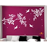 Heaven Decors Tree Branch with Bird Wall Sticker for Livingroom (PVC Vinyl, Ideal Size on Wall 141 cm x 70 cm) White
